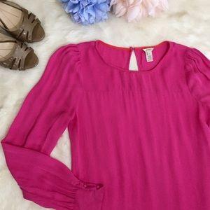 J. Crew Talitha Silk Blouse Hot Pink Long Sleeve 4